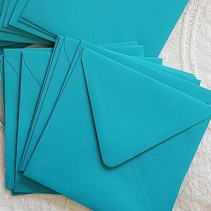 Teal Square Party Event Invitation Envelopes